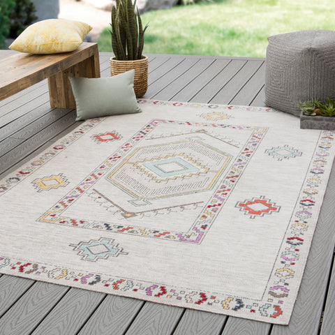 Tov Indoor/ Outdoor Medallion Light Gray & Multicolor Area Rug
