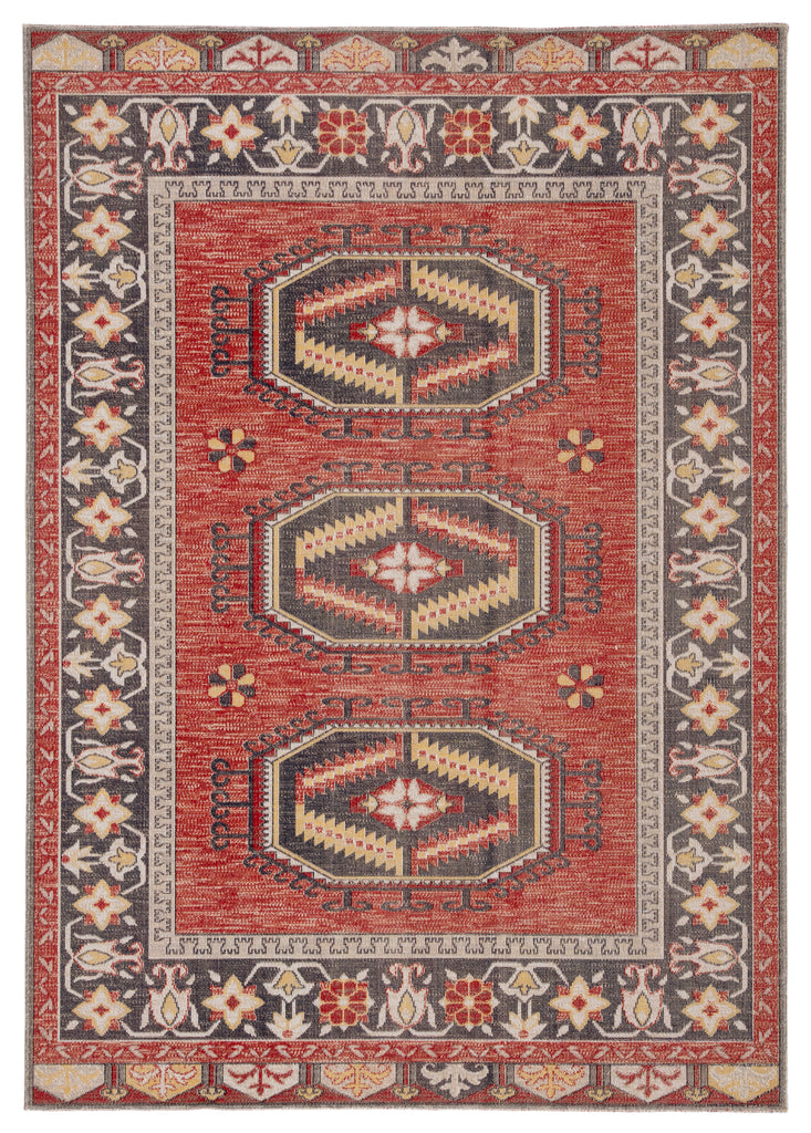 Miner Indoor/ Outdoor Medallion Red & Yellow Area Rug