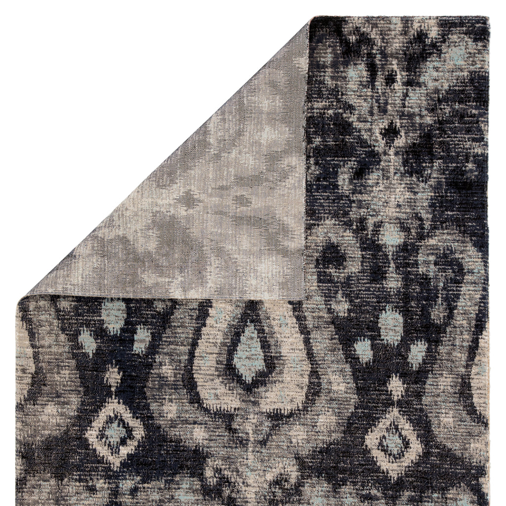 Zenith Indoor/ Outdoor Ikat Black/ Blue Rug design by Jaipur Living