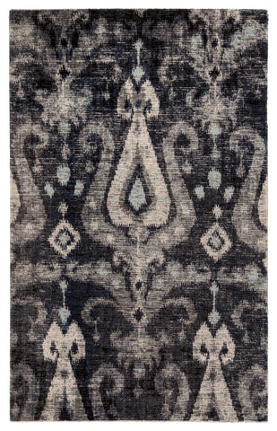 Zenith Indoor/ Outdoor Ikat Black/ Blue Rug design by Jaipur
