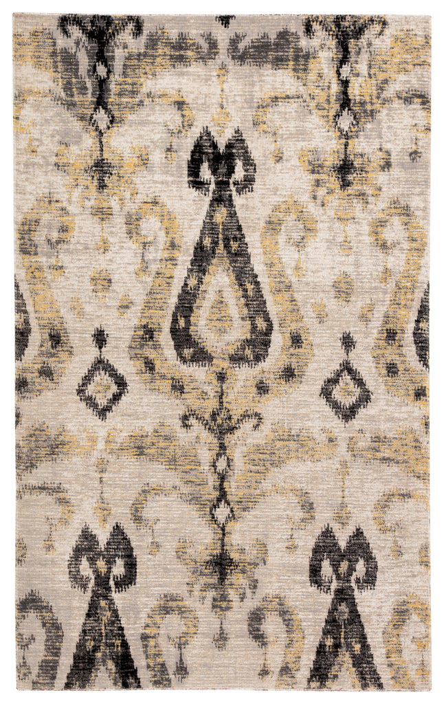 Zenith Indoor/ Outdoor Ikat Gray/ Yellow Rug design by Jaipur