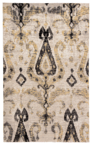 Zenith Indoor/ Outdoor Ikat Gray/ Yellow Rug design by Jaipur Living