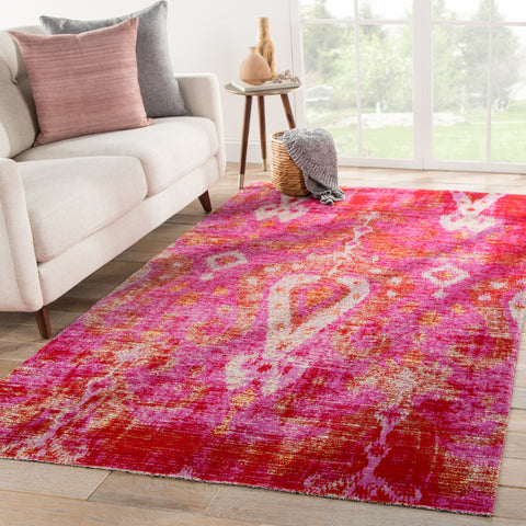 Zenith Indoor/ Outdoor Ikat Pink/ Orange Rug design by Jaipur