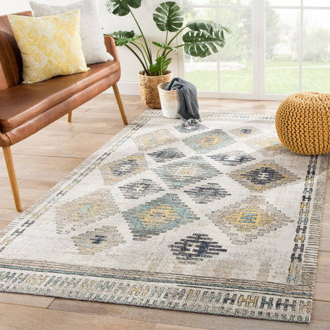Dez Indoor/ Outdoor Tribal Blue & Yellow Area Rug