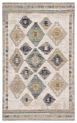 Dez Indoor/ Outdoor Tribal Blue/ Yellow Rug design by Jaipur
