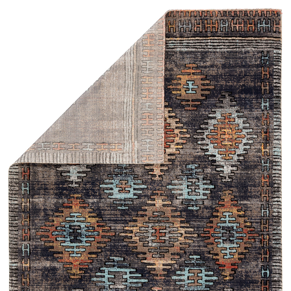 Dez Indoor/ Outdoor Tribal Blue/ Orange Rug design by Jaipur