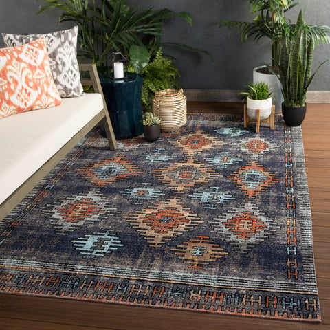 Dez Indoor/ Outdoor Tribal Blue & Orange Area Rug