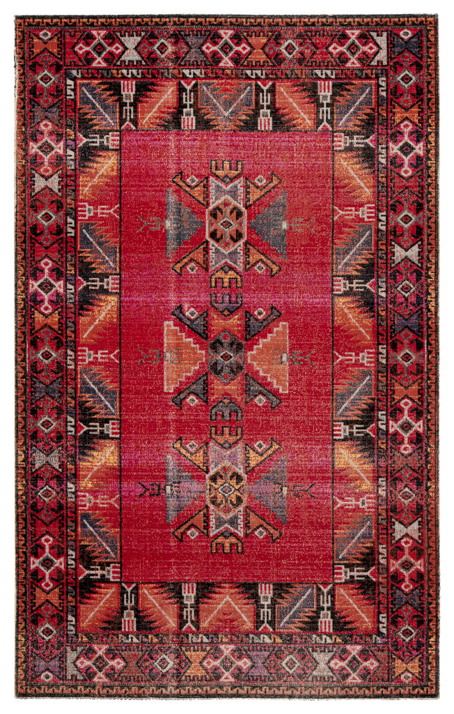 Paloma Indoor/ Outdoor Tribal Red/ Black Rug design by Jaipur