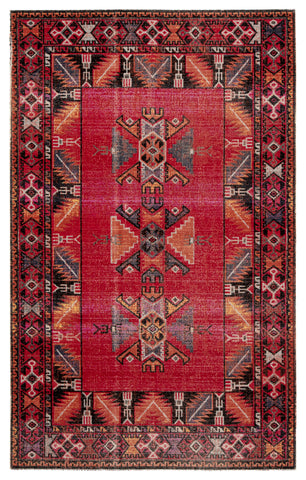Paloma Indoor/ Outdoor Tribal Red & Black Area Rug