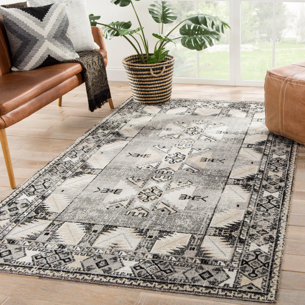 Paloma Indoor/ Outdoor Tribal Gray/ Beige Rug design by Jaipur