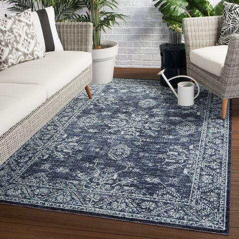 Fayer Indoor/ Outdoor Medallion Blue/ Black Rug design by Jaipur Living