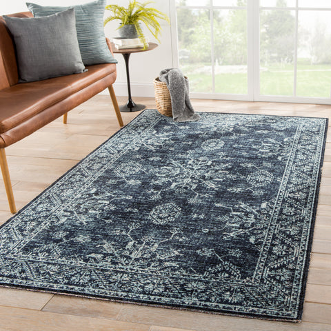 Fayer Indoor/ Outdoor Medallion Blue/ Black Rug design by Jaipur