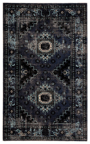 Westlyn Indoor/ Outdoor Medallion Black/ Blue Rug design by Jaipur
