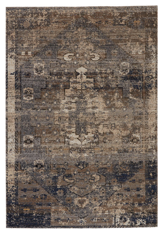 Belfast Indoor/Outdoor Medallion Rug in Taupe & Dark Blue by Jaipur Living