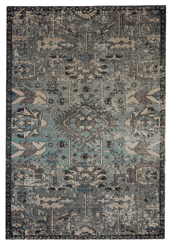 Ansilar Indoor/Outdoor Medallion Rug in Blue & Gray by Jaipur Living