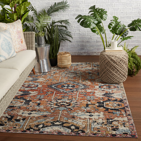 Ansilar Indoor/Outdoor Medallion Rug in Orange & Blue by Jaipur Living