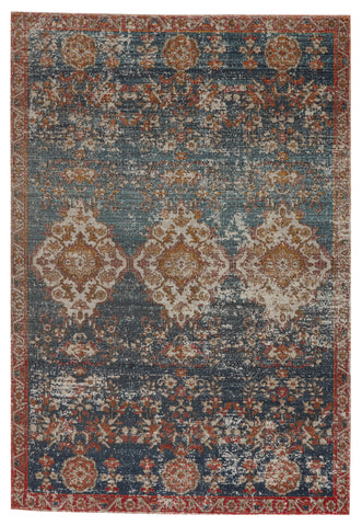 Freemond Indoor/Outdoor Medallion Rug in Blue & Red by Jaipur Living