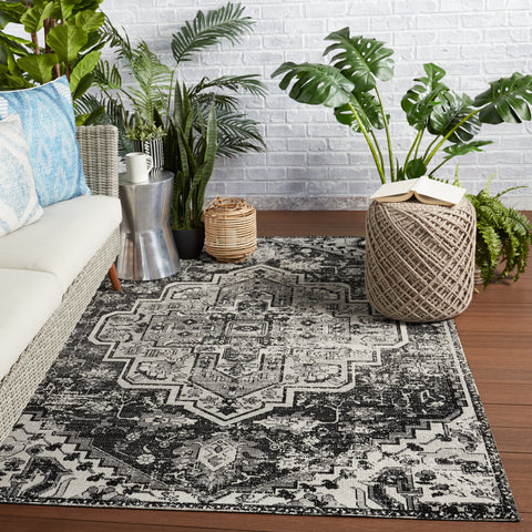 Ellery Indoor/Outdoor Medallion Rug in Black & Gray by Jaipur Living
