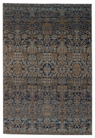 Bodega Indoor/Outdoor Trellis Rug in Dark Blue & Gold by Jaipur Living