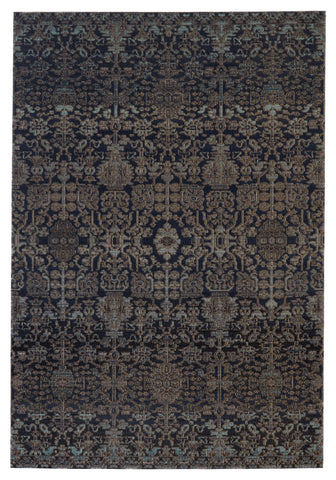 Bodega Indoor/Outdoor Trellis Rug in Dark Blue & Taupe by Jaipur Living