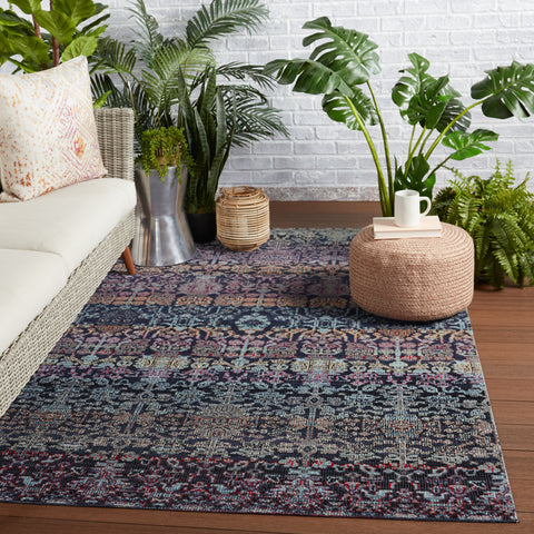 Bodega Indoor/Outdoor Trellis Rug in Dark Blue & Multicolor by Jaipur Living