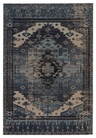 Cicero Indoor/Outdoor Medallion Rug in Blue & Gray by Jaipur Living