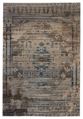 Cicero Indoor/Outdoor Medallion Rug in Taupe & Blue by Jaipur Living