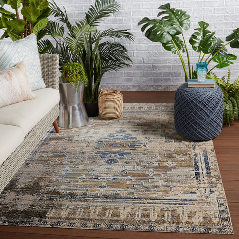 Cicero Indoor/Outdoor Medallion Rug in Tan & Blue by Jaipur Living