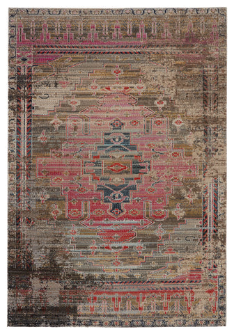 Cicero Indoor/Outdoor Medallion Rug in Pink & Taupe by Jaipur Living