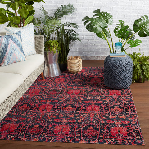 Genesee Indoor/Outdoor Trellis Rug in Red & Blue by Jaipur Living