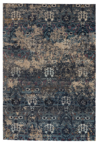Genesee Indoor/Outdoor Trellis Rug in Blue & Beige by Jaipur Living