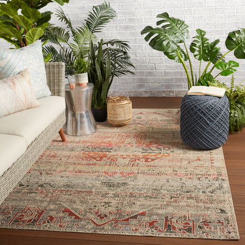 Altona Indoor/Outdoor Medallion Rug in Multicolor & Beige by Jaipur Living