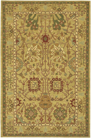 Pooja Collection Hand-Knotted Area Rug in Green & Gold design by Chandra rugs