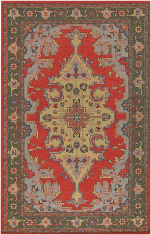 Pooja Collection Hand-Knotted Area Rug in Red & Brown design by Chandra rugs