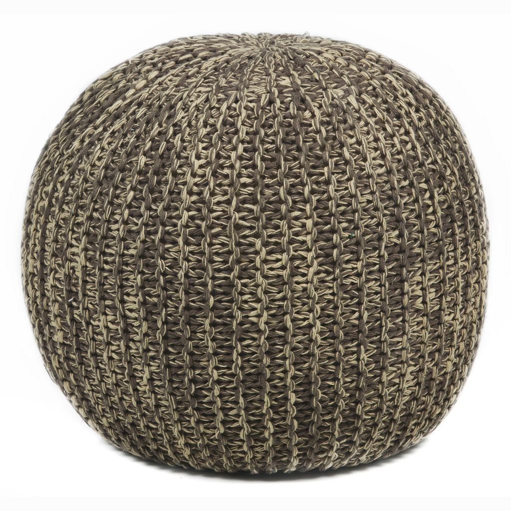 Hand-Knitted Pouf in Beige & Brown design by Chandra rugs
