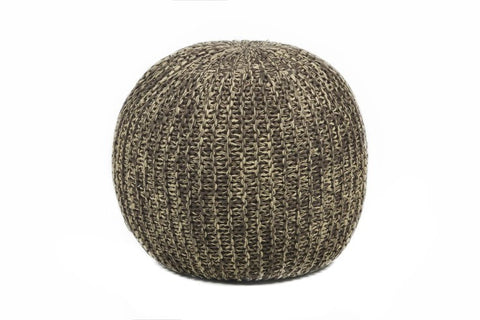 Hand-Knitted Contemporary Cotton Pouf, Brown