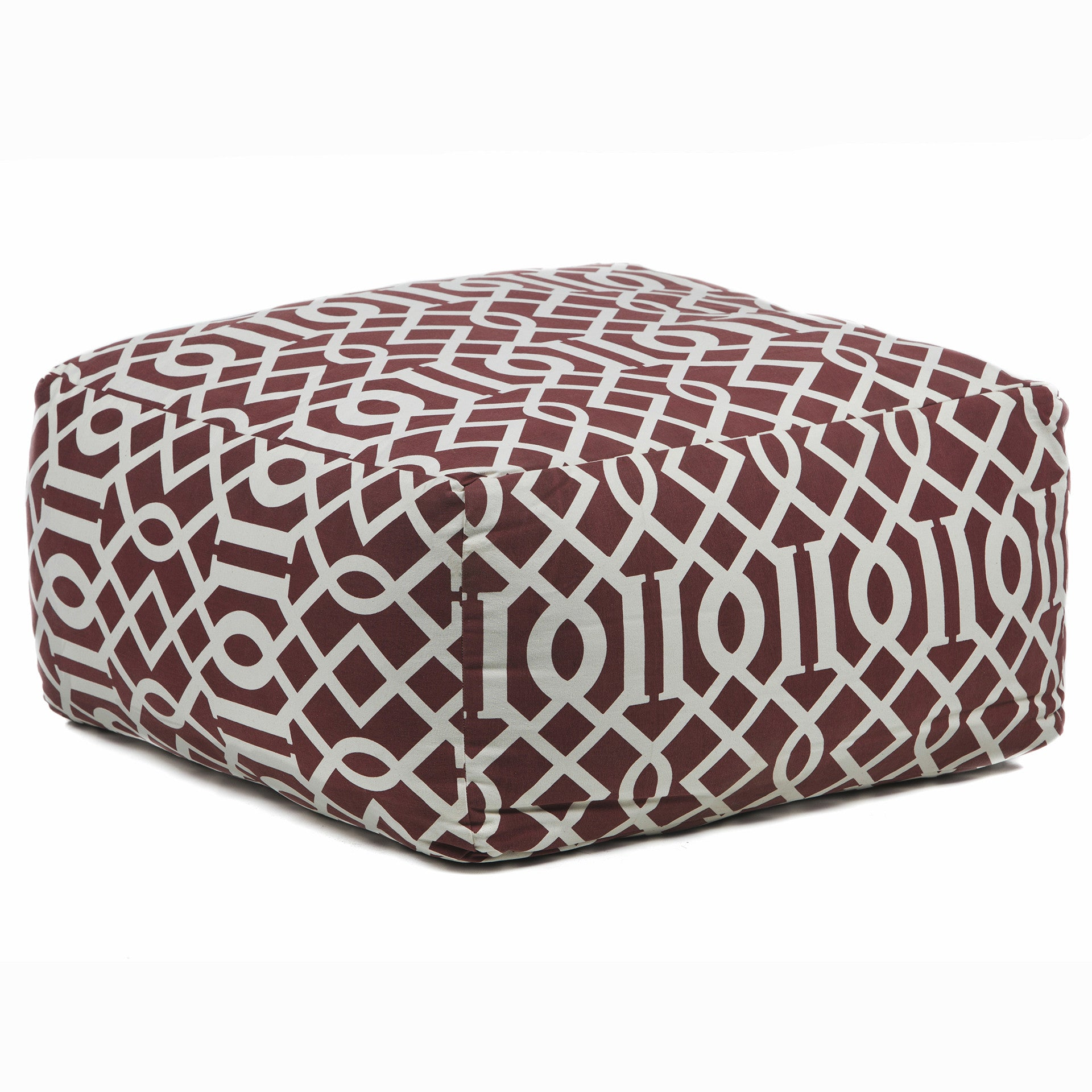 Pouf in Maroon & Cream design by Chandra rugs