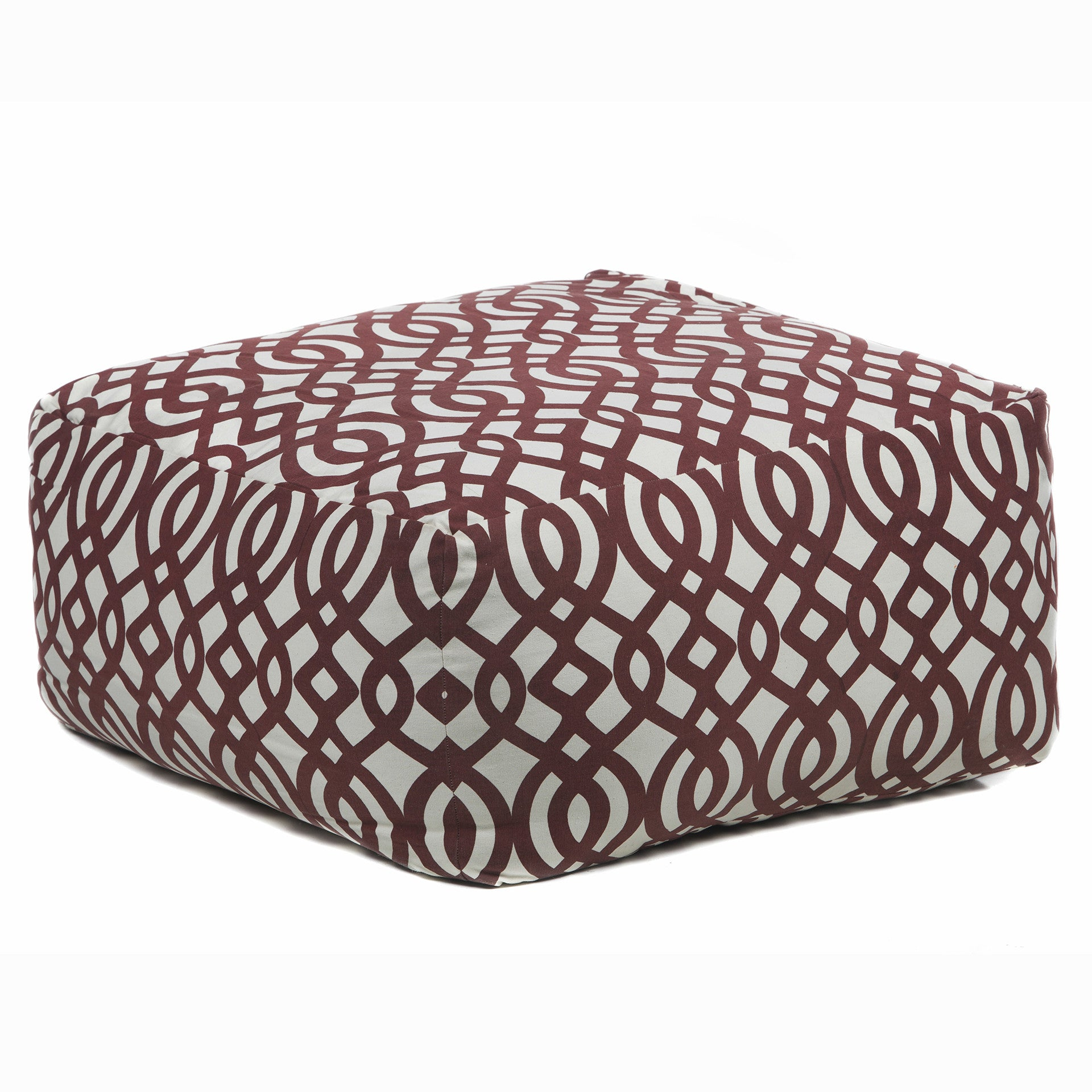 Pouf in Cream & Maroon design by Chandra rugs