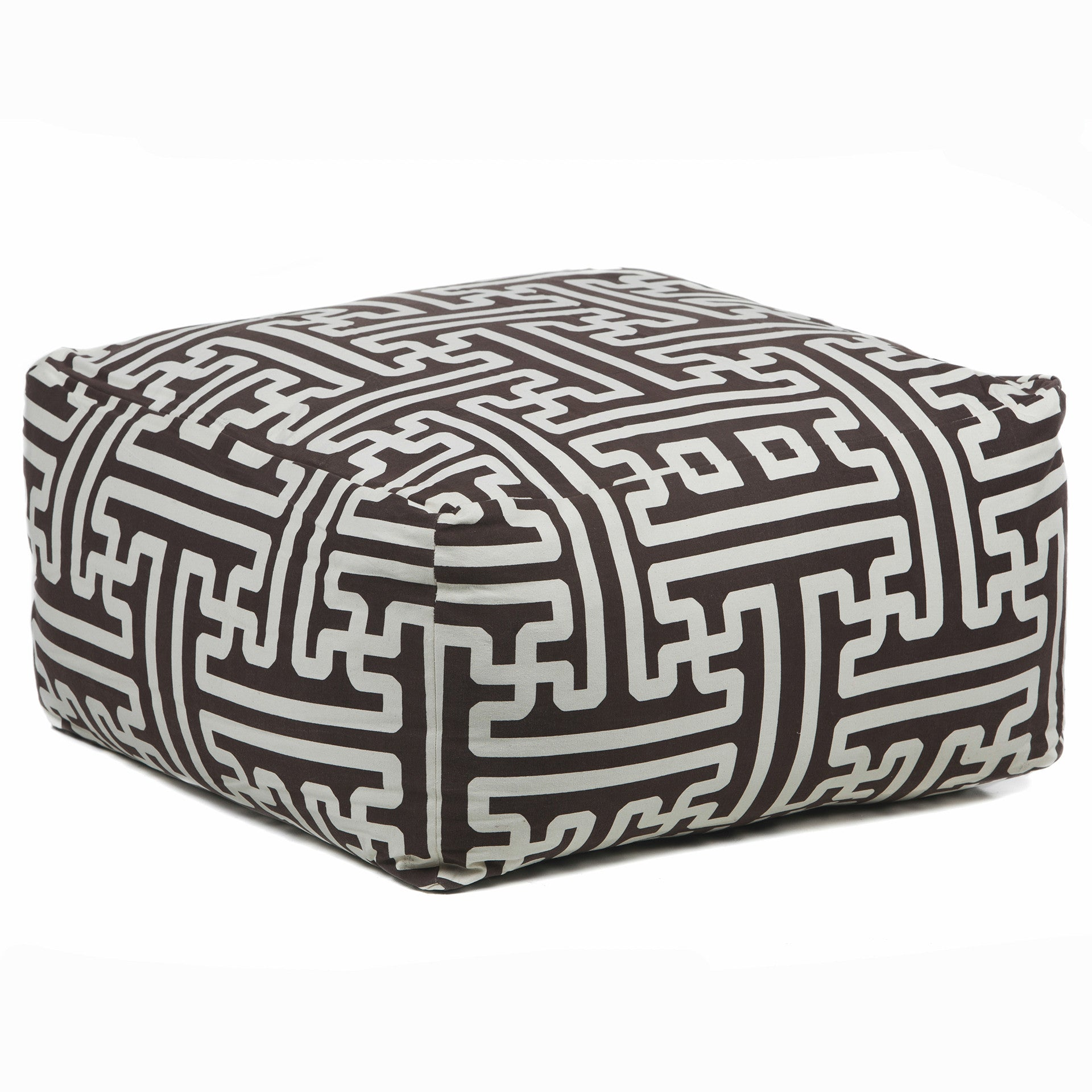 Pouf in Brown & Cream design by Chandra rugs