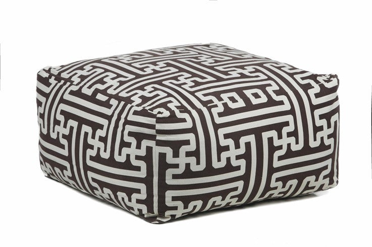 Handmade Contemporary Printed Cotton Pouf, Black & White design by Chandra Rugs