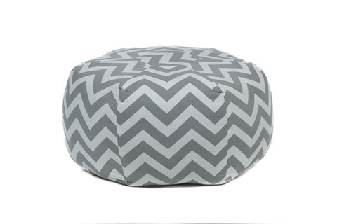 Handmade Contemporary Printed Cotton Pouf, Grey & White