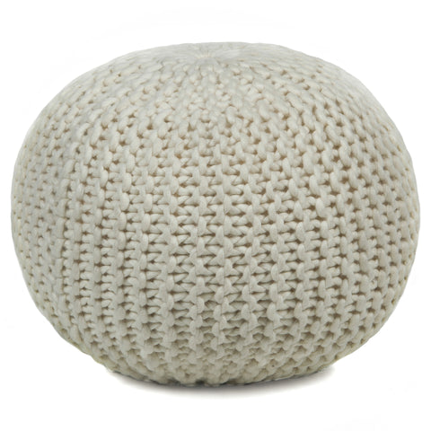 Hand-Knitted Pouf in Ivory design by Chandra rugs