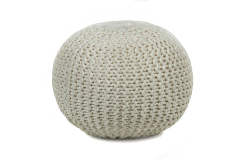 Hand-knitted Contemporary Wool Pouf, Beige design by Chandra Rugs