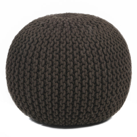 Hand-Knitted Pouf in Brown design by Chandra rugs