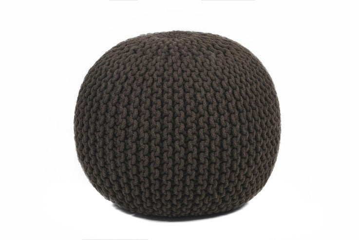 Hand-knitted Contemporary Cotton Pouf, Black