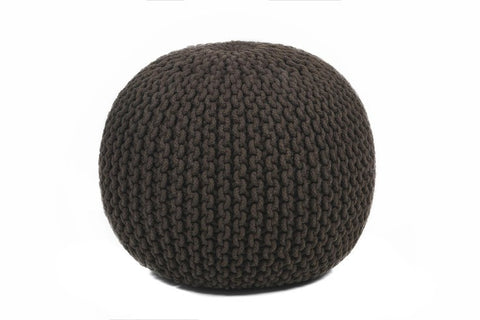 Hand-knitted Contemporary Cotton Pouf, Black design by Chandra Rugs