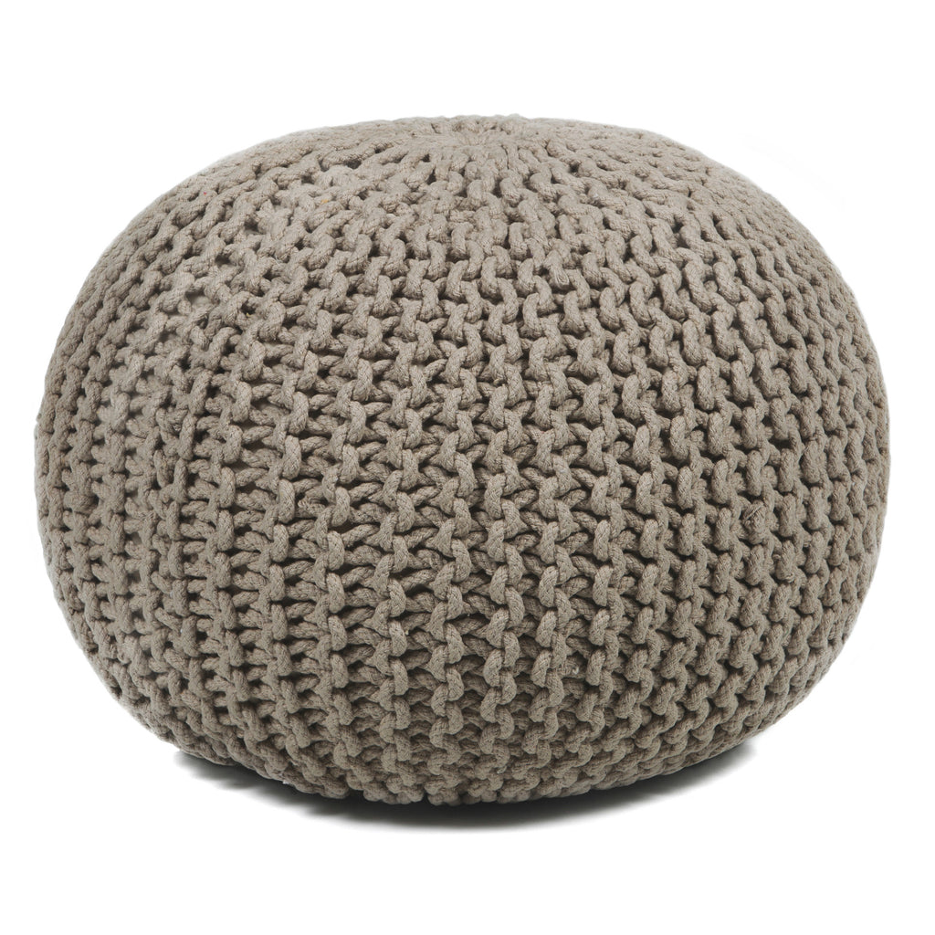 Hand-Knitted Pouf in Beige design by Chandra rugs