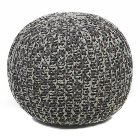 Hand-Knitted Pouf in Brown & Grey design by Chandra rugs
