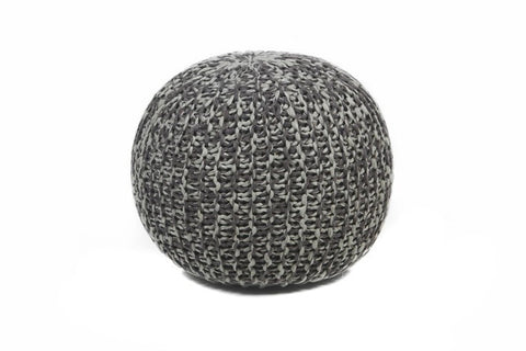Hand-Knitted Contemporary Cotton Pouf, Grey