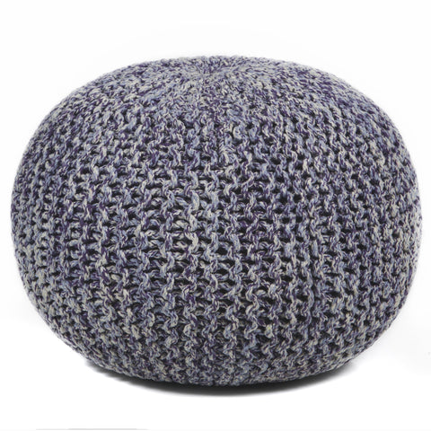 Hand-Knitted Pouf in Purple, Grey, & Cream design by Chandra rugs